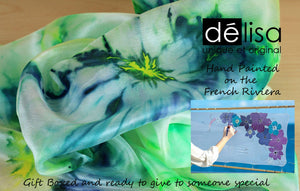 Hand painted silk scarf. Green abstract silk scarf. Silk foulard.