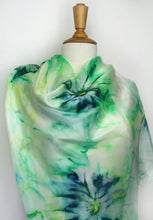 Load image into Gallery viewer, Hand painted silk scarf. Green abstract silk scarf. Silk foulard.