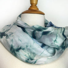 Load image into Gallery viewer, Hand painted green gray silk scarf. Green grey tie dyed silk scarf. Dark green silk foulard.