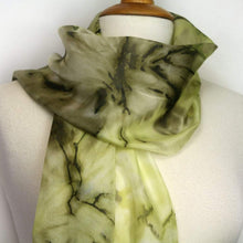 Load image into Gallery viewer, Hand painted khaki green silk scarf. Army green abstract floral silk scarf. Dark green silk foulard. .