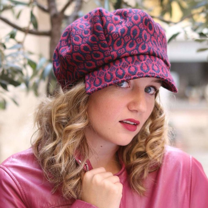 Blue and Red brocade hat, Trendy fabric cap,