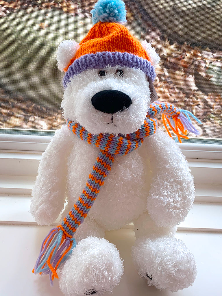 Hat and Scarf--Purple, orange and light blue