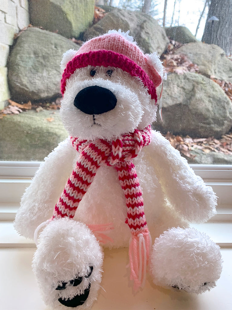 Hat and Scarf--Magenta, pink and white