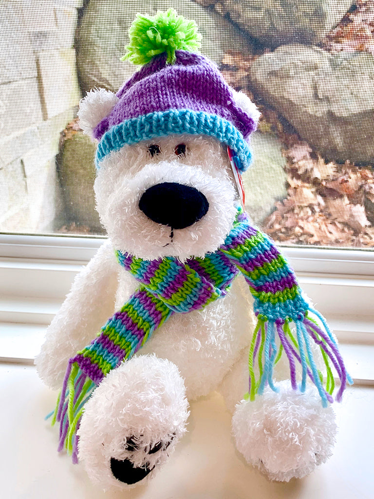Hat and Scarf--Purple, green and blue