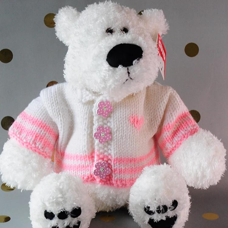 White Bear with pink trim and pink flower buttons