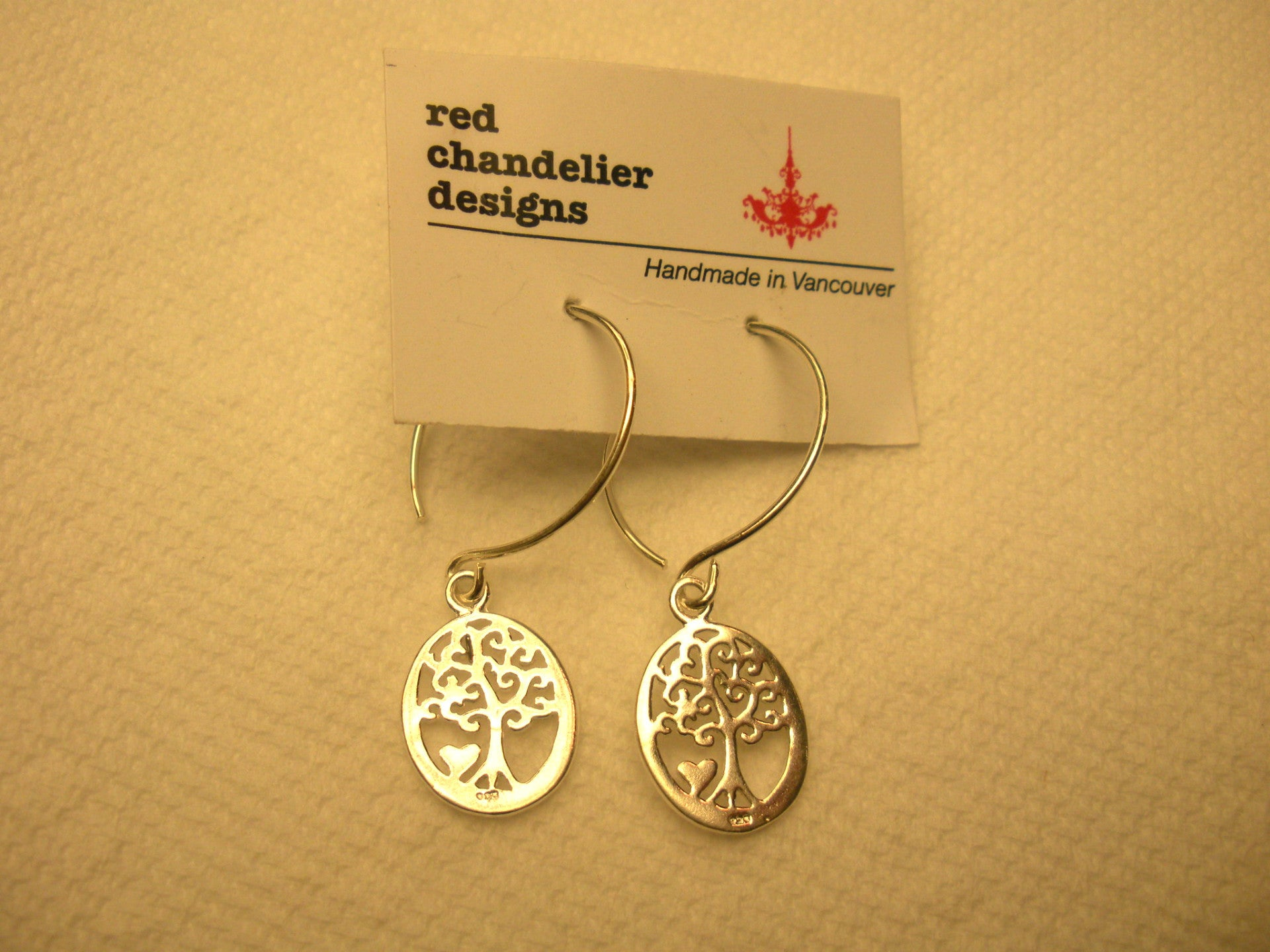 Red Chandelier Design Tree of Life Earrings