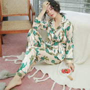 Summer Satin Floral Pajamas