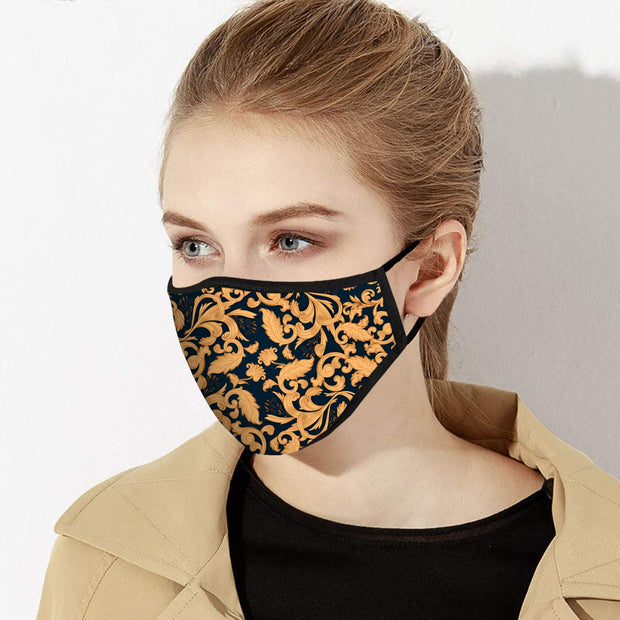 Gold Paisley Face Mask - Made in USA