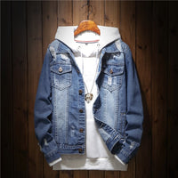 NEW Denim Jacket Men's Denim clothing man coats Fashion Jeans Jacket Casual loose Ripped Holes Vintage Bomber Denim Jacket