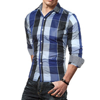 Fashion Men Slim Fit Shirts Long Sleeve Cotton Plaid Tee Shirts Casual Chemise Homme Mens Checkered Casual Handsome Men Blouse