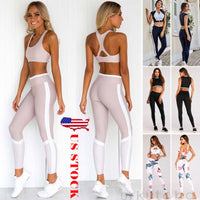 Women's Crop Top Pants Trousers Gym Workout Outfit Set Athletic Apparel