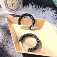 Earrings Charm Pink Blue Black White Multicolor Matte Circle Shiny Crystal Big Earrings Fashion Jewelry Women's New Design