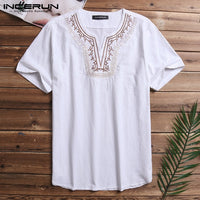 INCERUN Men Short Sleeve Shirts Cotton V-Neck Chic Embroidery Casual Tee Pure Color Daily Wild Basic Literary shirt Masculina