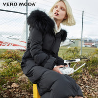 Vero Moda raccoon fur hooded 90% white duck down straight thick super long down jacket women |318412509