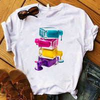 Women T Womens Graphic 3D Finger Nail Paint Color Fashion Cute Printed Top Tshirt Female Tee Shirt Ladies Clothes T-shirt