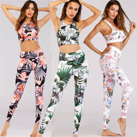 Women's Apparel Sports Gym Yoga Suit Floral Yoga Vest Yoga Pants Workout Activewear 2 Pieces Tops Leggings Outfits Set 3 Colors
