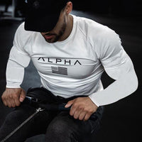 Gym Fitness T-shirt Men Casual Long sleeve Cotton t shirt Male Print Tee Tops Autumn Running Sport Workout Clothes Brand Apparel