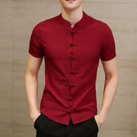 2019 Plain Shirts Mens Dress Chinese Fashion Man Clothing Summer Tee Tops Dress Short Sleeve Slim Fit Button Down Camisa Chemise