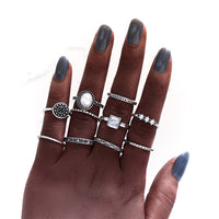 New Boho Acrylic Silver Rings Set For Women Round Female Knuckle Finger Rings 2019 Personality Girl Statement Fashion Jewelry