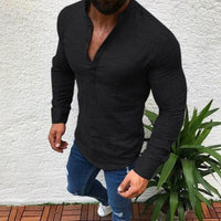 2019 Sexy New Men Long Sleeve Shirt Summer Fashion Casual Cool Clothing Slim Fit Tees Tops Male Breathable Linen Shirt