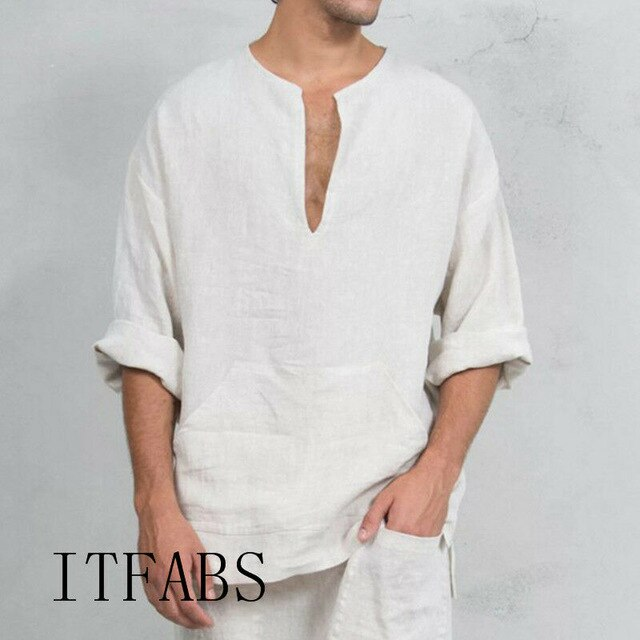 Men Linen and Cotton V Neck Short Sleeve T Shirts Casual Loose Tee top Blouse