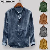 2019 Men Shirts Social Tee Long Sleeve Stand Collar Solid Loose Male Tee Tops Camisa Masculina Plus Size S-5XL Big Autumn Spring