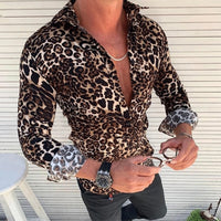 Mens Cotton Linen Long Sleeve Leopard Summer Shirts Slim Casual Loose Soft Male Autumn Fashion Tops Tee