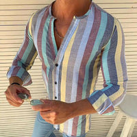Men's Linen V Neck Long Sleeve Basic Tee Shirt Casual Tops Blouse New Men's Striped V-Neck Shirt