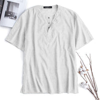 Chic  Tops 2019 Men Shirts Short Sleeve Men Casual Shirts Crew Neck Loose Fit Ethnic Vacation Camisa Masculina Tee Tops
