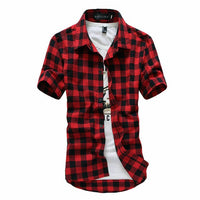 2019 New Mens Casual Button Short Sleeve Shirt Summer Fashion Plaid Checks Tee Shirts Tops Size M-3XL