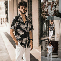 2019 Brand New Style Mens Hawaiian Floral shirt Short Sleeve Tee Beach Party Shirt Blouse Tops Hot Sale