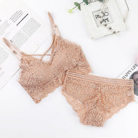 2019 Sexy Lace Bra Sets Women Seamless Embroidery Bralette Wireless Breathable Underwear Lingerie Set