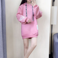 Korean Style Spring Autumn Women Hooded Pullover Loose Casual Letter Print Hoodie Long-sleeved  Plus Size  Sweatshirt Pullover