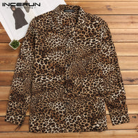 Sexy Leopard Tee Tops Social Shirt Men Shirt Long Sleeve Dress Autumn Male Clothes Tee Tops Streetwear Chemise Camisas Hombre