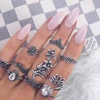 15pcs/set Punk Knuckle Rings Sets for Women Vintage Anel Flower Midi Finger Rings Jewelry Boho Silver Party Bague Femme 2019