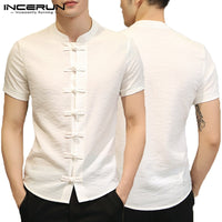 2019 Fashion Man Clothing Plain Shirts Mens Dress Chinese Dress Short Sleeve Slim Fit Button Down Camisa Chemise Summer Tee Tops