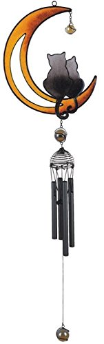Wind Chime with Black Coated Gems Cats on The Moon Hanging Decoration