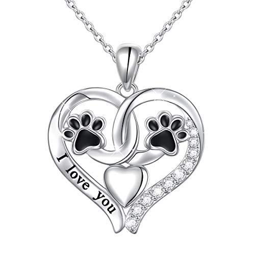 Sterling Silver Cute Dog Paw Print Heart Pendant Necklace 18 inches