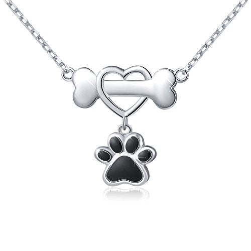 925 Sterling Silver Cute Paw Print Pendant Necklace - Heart Bone & Black Paw
