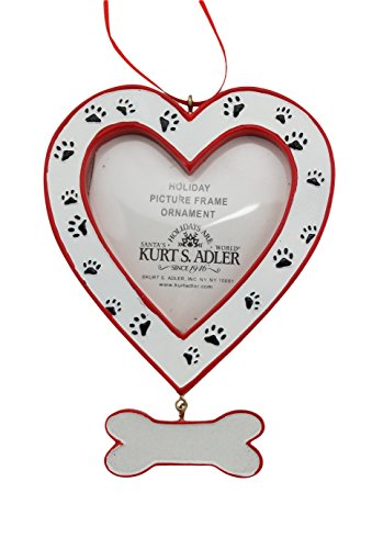 Dog Heart Picture Frame - Bone Dangle and Paw Prints Ornament