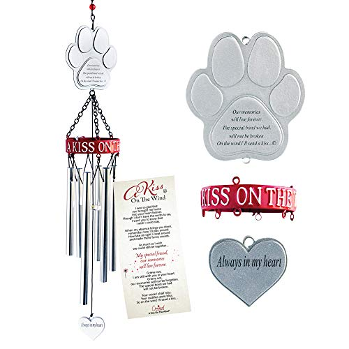 "Pet Memorial 19-Inch Wind Chime ""A Kiss on the Wind"""