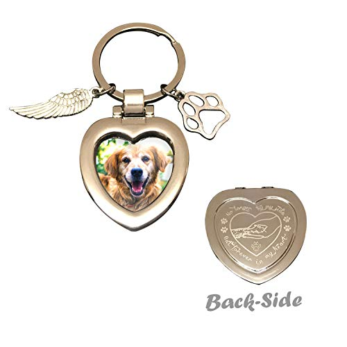 Pet Memorial Keychain Jewelry Angel with Paws - Personalized Family Picture Frame