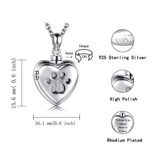 925 Sterling Silver Cremation Jewelry for Pet Ash - Memorial Ash Pendant Urn Necklace