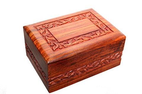 Hand-Carved Rosewood Border Urn