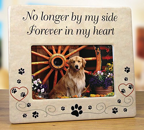 Pet Memorial Ceramic Picture Frame - No Longer By My Side Forever in My Heart