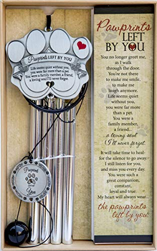 "Pet Memorial Wind Chime - 18"" Metal Casted Pawprint Wind Chime"
