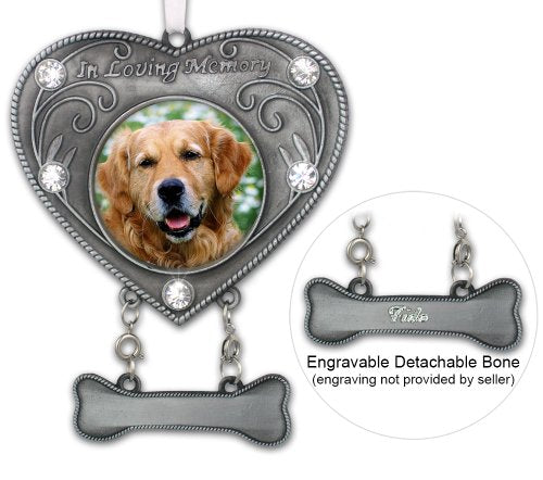 Dog Memorial Photo Ornament - in Loving Memory Pet Keepsake - Heart Shaped Picture Opening with Crystals