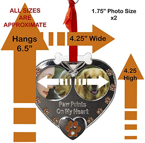 Double Picture Pet Ornament - Paw Prints on My Heart