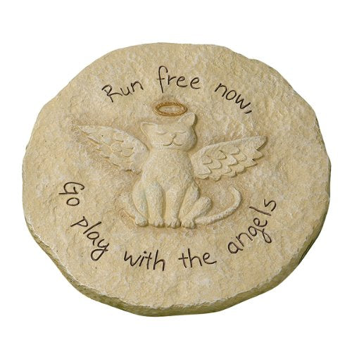 """Run free now"" Cat with Halo Remembrance Stepping Stone Plaque"