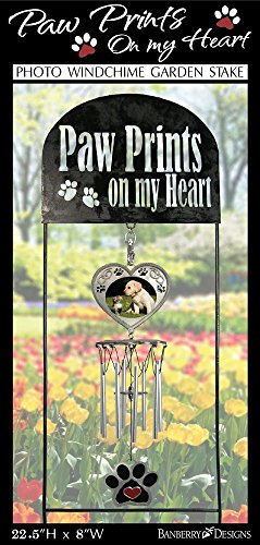 Pet Memorial Wind Chimes - Black Wrought Iron Garden Stake and Wind-chime